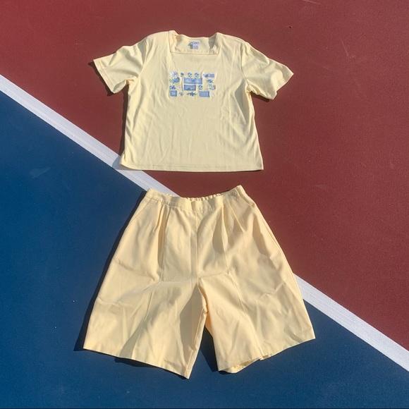 Yellow Shirt and Shorts Set